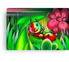 Insect with charming mood in the midst of flowers Canvas Print