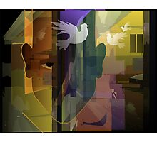 Abstract painting of man with symbol of peace Photographic Print