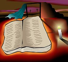 Book of holy spirit in the light of candle by tillydesign