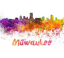 Milwaukee skyline in watercolor by paulrommer