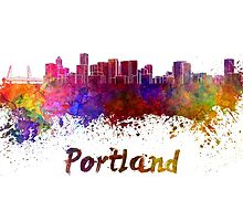 Portland skyline in watercolor by paulrommer