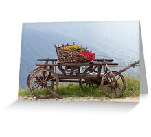 wooden cart with flowers Greeting Card