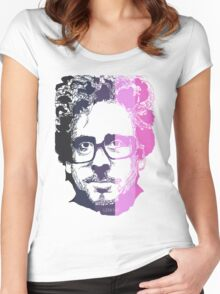 Tim Burton in stripes! Women's Fitted Scoop T-Shirt
