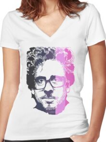 Tim Burton in stripes! Women's Fitted V-Neck T-Shirt