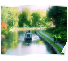 Peaceful and scenic canal scene with narrowboat, Stoke-on-Trent Poster