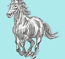 The Valiant Beast - Running Horse by ruthjoyceart
