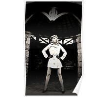 Blonde model in cap and short mac stands on guard Poster