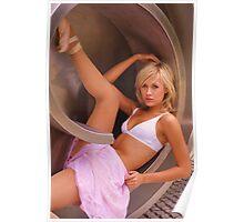 Ballerina, relaxing inside a steel sculpture Poster