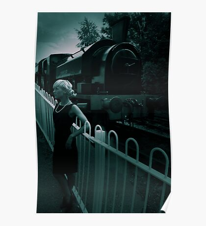 Retro-style blonde waits before a vintage steam engine, Foxfield Railway, Staffordshire Poster