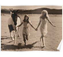 Two pretty young women hold hands as they run with a horse through a field. Poster