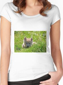 If they could only stay so young - Arctic Wolf Pup Women's Fitted Scoop T-Shirt