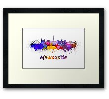 Newcastle skyline in watercolor Framed Print