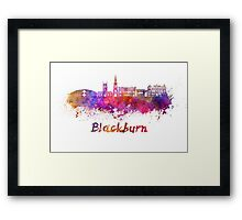 Blackburn skyline in watercolor Framed Print