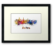 Bolton skyline in watercolor Framed Print