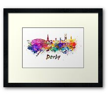 Derby skyline in watercolor Framed Print