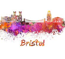Bristol skyline in watercolor by paulrommer