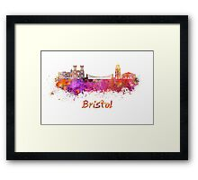 Bristol skyline in watercolor Framed Print