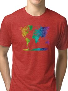 World map in watercolor rainbow Tri-blend T-Shirt