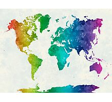World map in watercolor rainbow Photographic Print