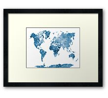 World map in watercolor blue Framed Print