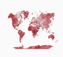 World map in watercolor red Kids Tee