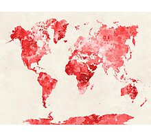 World map in watercolor red Photographic Print