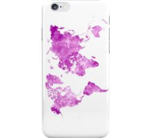 World map in watercolor pink iPhone Case/Skin