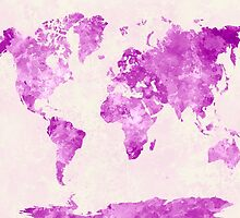 World map in watercolor pink by paulrommer