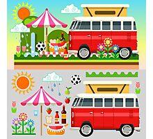 Summer Holiday 3D Picnic Flat Set Photographic Print