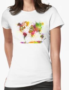 World map in watercolor  Womens Fitted T-Shirt