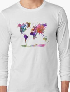 World map in watercolor  Long Sleeve T-Shirt