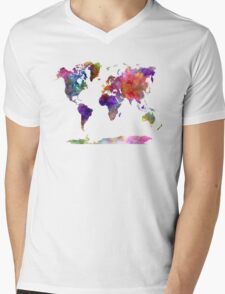 World map in watercolor  Mens V-Neck T-Shirt