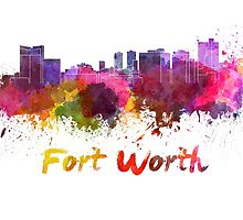 Fort Worth skyline in watercolor by paulrommer