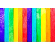Abstract Rainbow Wood Fence Photographic Print