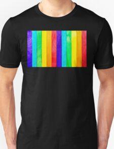 Abstract Rainbow Wood Fence T-Shirt