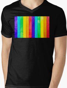 Abstract Rainbow Wood Fence Mens V-Neck T-Shirt