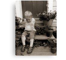 Little boy on the steps Canvas Print