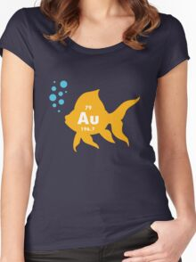 Periodic table elemental gold fish geek funny nerd Women's Fitted Scoop T-Shirt