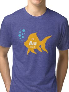 Periodic table elemental gold fish geek funny nerd Tri-blend T-Shirt
