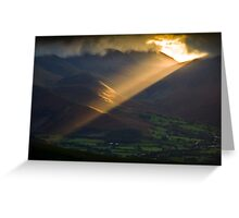 Golden rays on distant fells Greeting Card