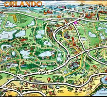 Orlando Florida Cartoon Map by Kevin Middleton
