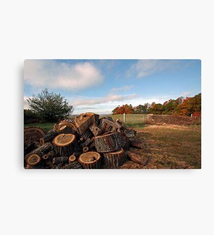 -Firewood - Sebago,  Maine Canvas Print