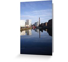 Liverpool Docks mirror landscape Greeting Card