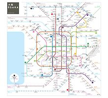 Osaka metro map  Photographic Print