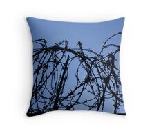 careful it's barbed wire Throw Pillow