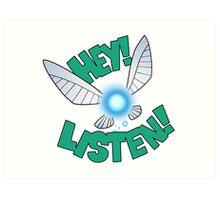 "Legend of Zelda: Ocarina of Time - Navi ""Hey! Listen!"" Art Print"