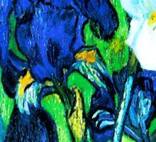 Van Gogh Garden Irises HDR Sticker