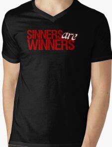 """Christopher Saynt """"Sinners Are Winners"""" Mens V-Neck T-Shirt"""