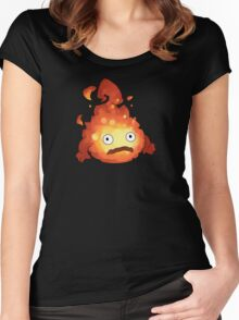 Studio Ghibli - Howl's Moving Castle - Calcifer Women's Fitted Scoop T-Shirt