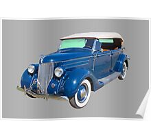 Blue 1936 Ford Phaeton Convertible Antique Car Poster